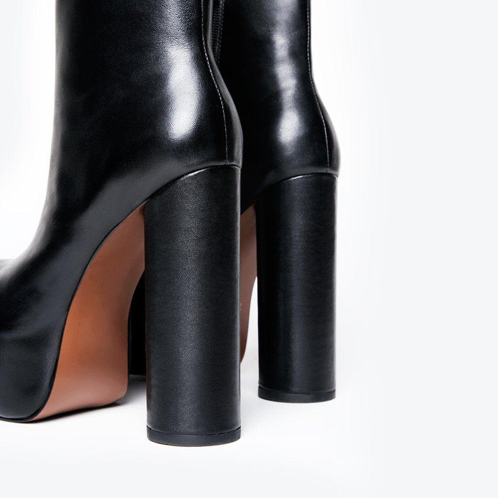 6839dd4c88 GRAVITY BOOT - Black leather platform ankle boot. Zipper closure on inner  side. Round cylinder block heel. 2 inch platform 5 inch heel UPPER: Nappa  Leather ...