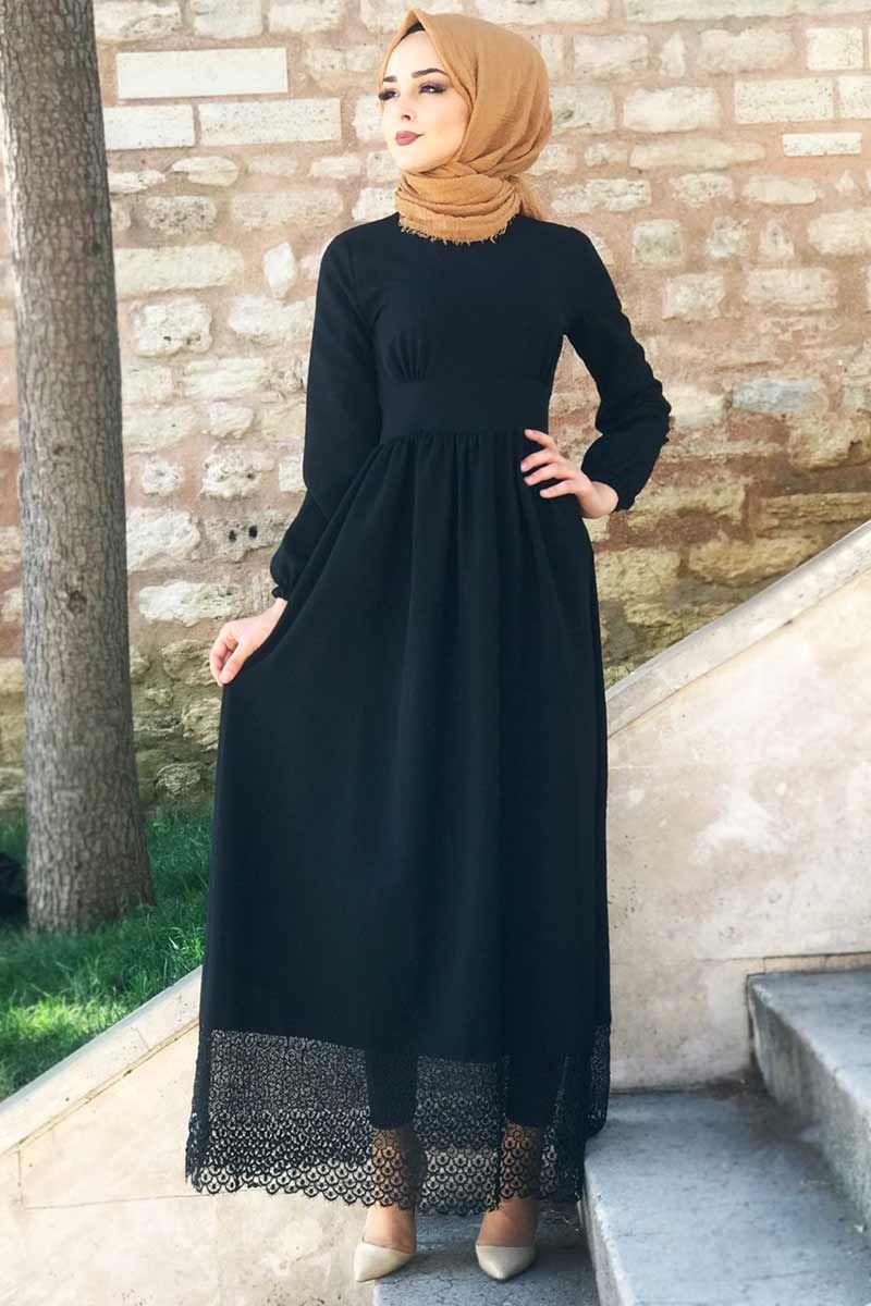 Etegi Gupurlu Pileli Elbise Tsd5619 Siyah Elbise Elbise Modelleri Siyah