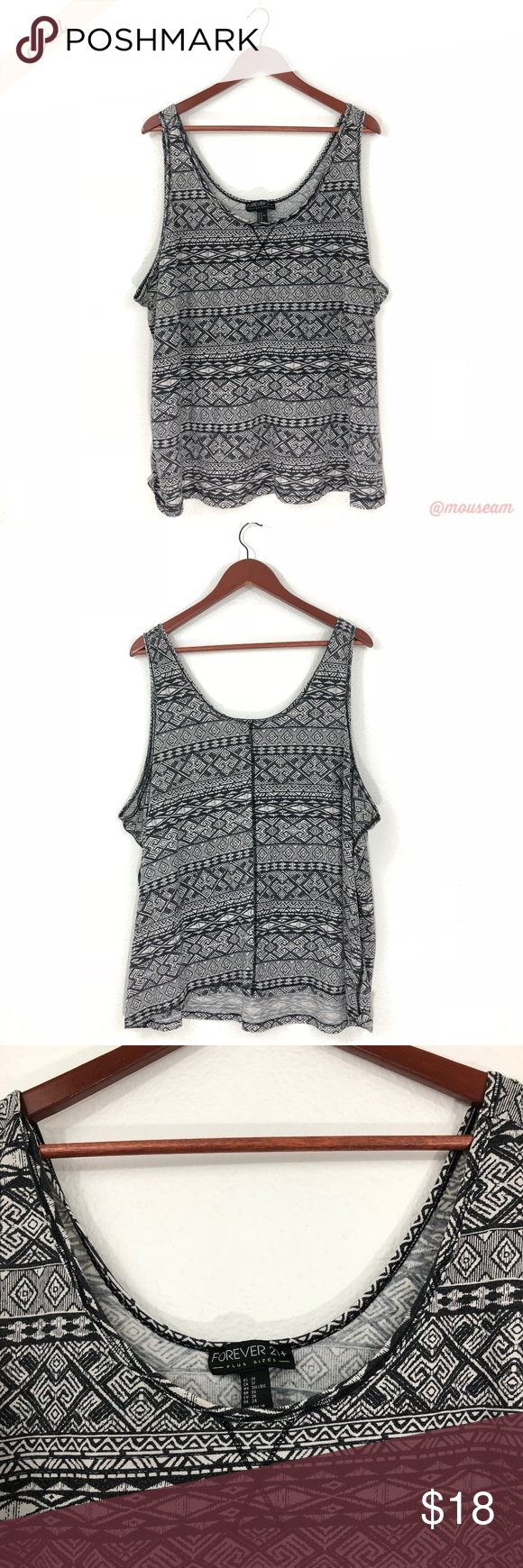 2b3898bf796  Forever 21+  Black   White Tribal Print Tank Top Forever 21 Plus -