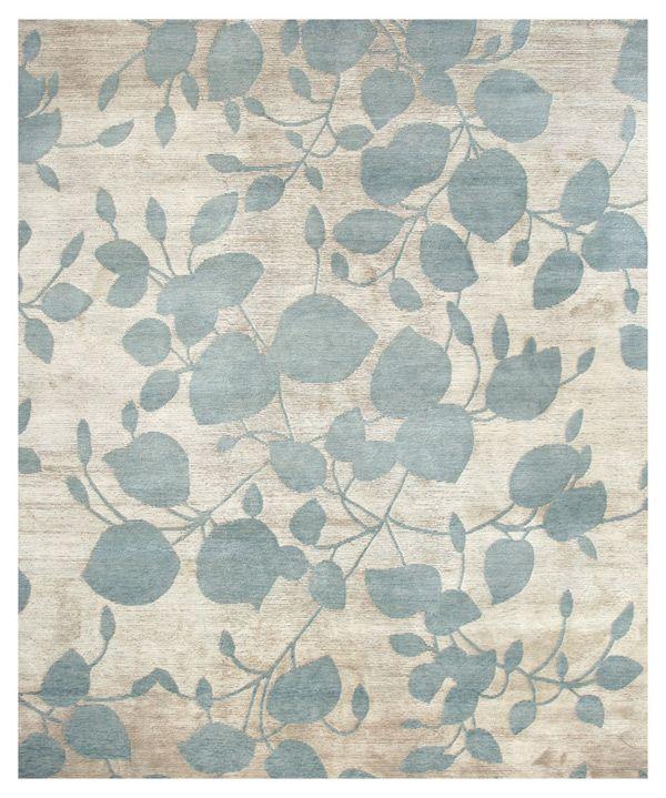 "Wool Silk Rugs Contemporary: ""Monet"" Tibetan-Hand-Knotted, Wool & Silk Rug (Nepal"