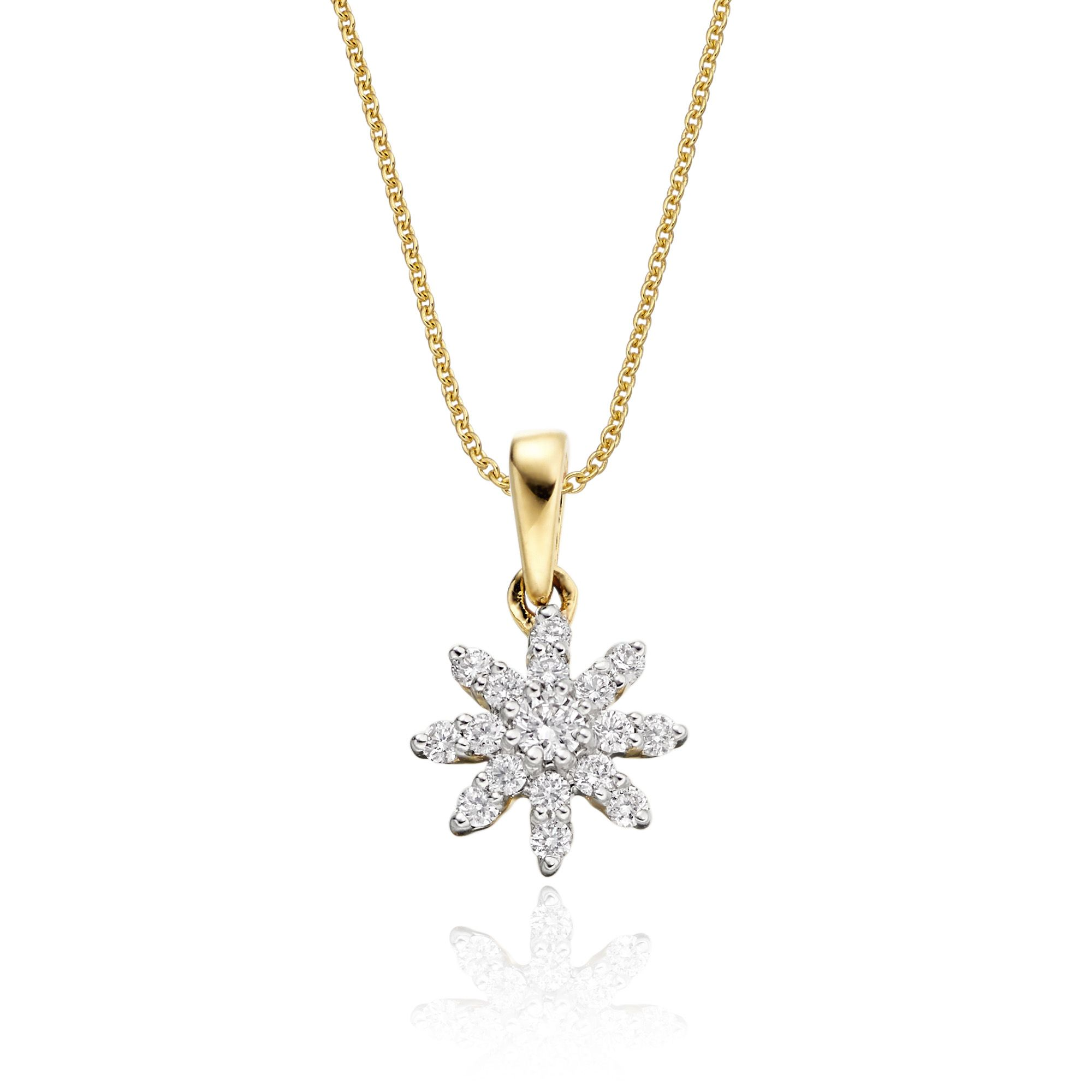 Lotus 025ct cluster diamond pendant in 9k yellow gold