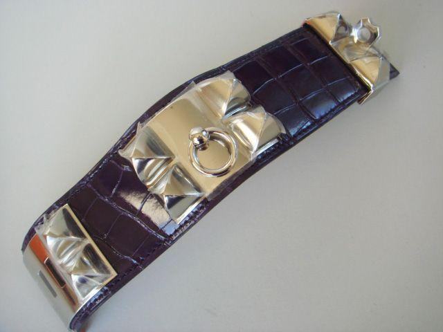 Hermes Cdc Amethyst Collier De Chien Purple Gator Bracelet Auth