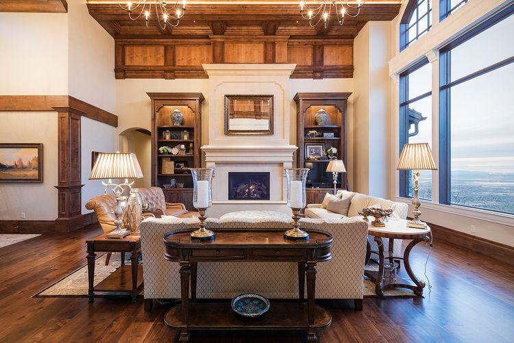 Neutral toned living room designed by Utah's luxury interior design firm, Lisman Studio!