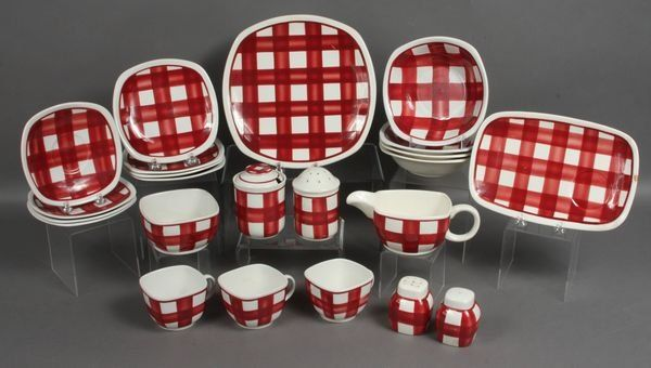 Tg Green Red Gingham Dinner Set With