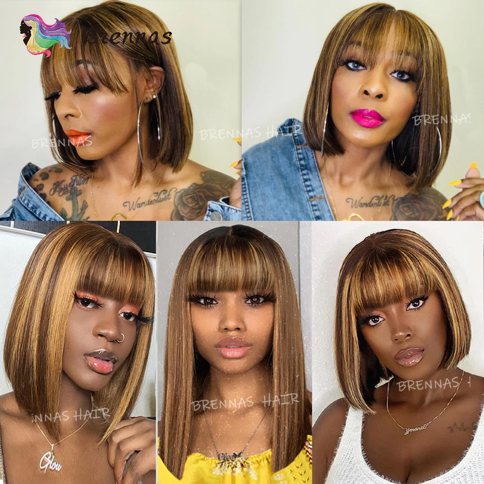Highlight Straight Bob Wig Ombre Honey Blond Color Human Hair Wig With Bangs For Women Peruvian Remy Hair Full Machine Mad Wigs With Bangs Wigs Human Hair Wigs