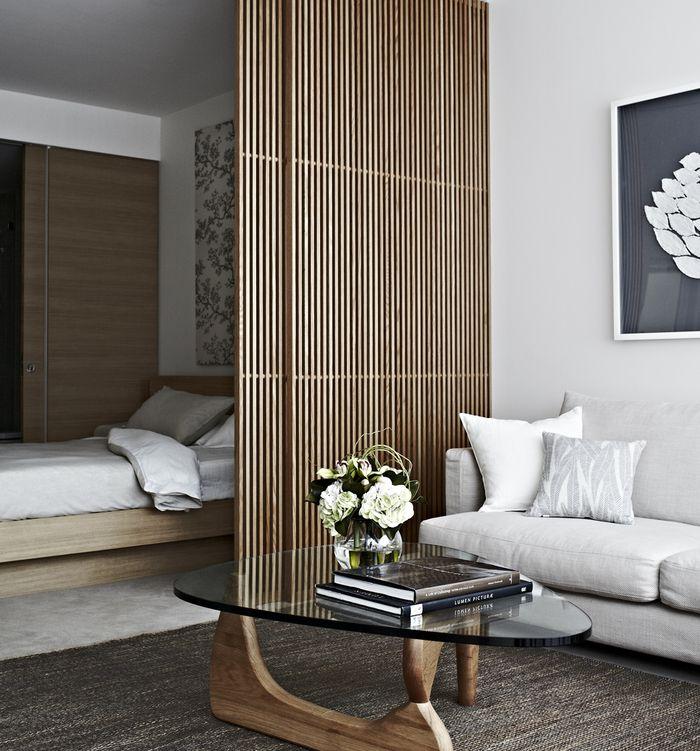 Charmant Bedroom. Neutrals. Natural Elements. Privacy Wall. Sliding Door. Room  Divider.