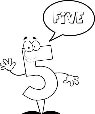 Number 5 Says Five Coloring Page Math Coloring Pages Free