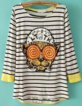 Black Long Sleeve Girl Pattern Ruffle T-shirt - Sheinside.com