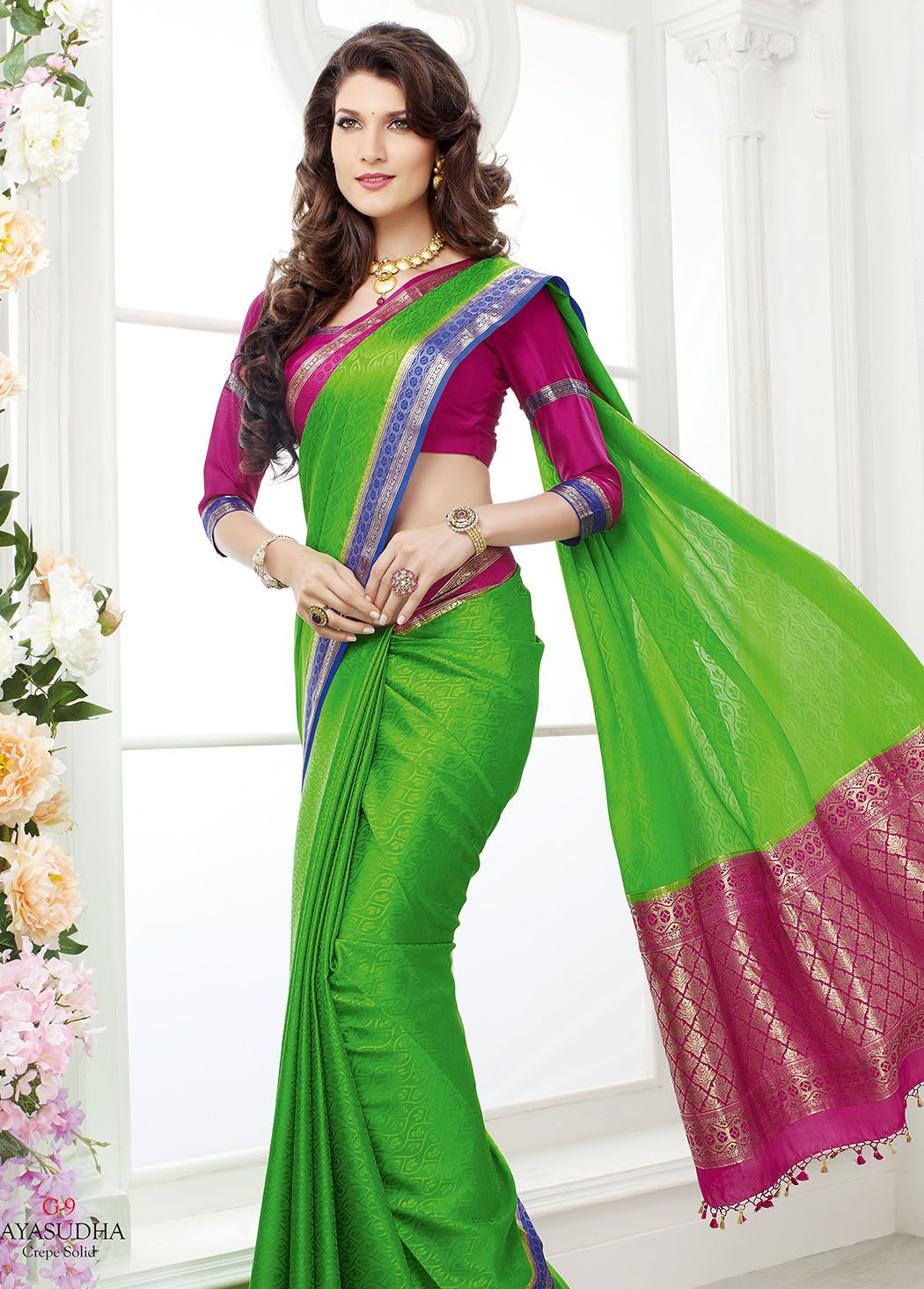 10f41812da15be GREEN MYSORE SILK SAREE WITH BLOUSE