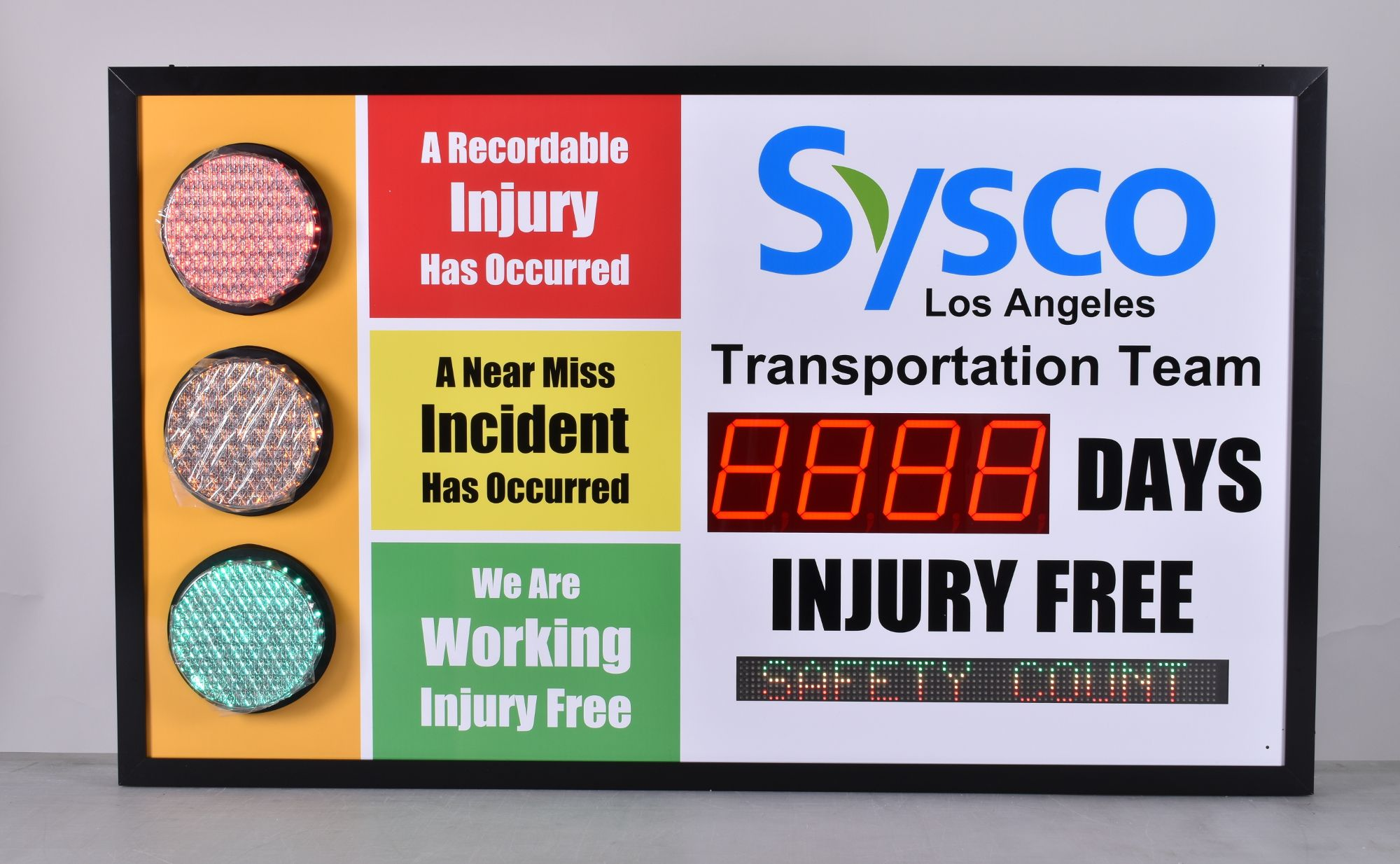 Stop light Safety Scoreboard with Large Display and Scrolling