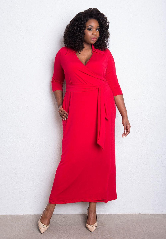 Trendy breathable wrinklefree plus size wrap dress womens fashion