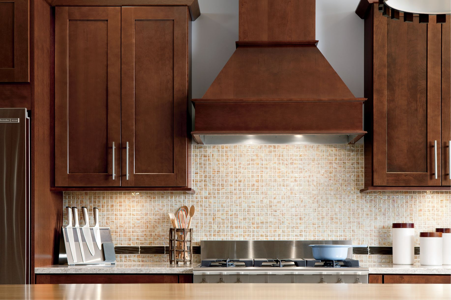 Straight Valance Range Hood Design By Allen Roth Range Hood Cabinetry Design