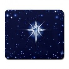 Christmas Star in Blue Night Large Mousepad