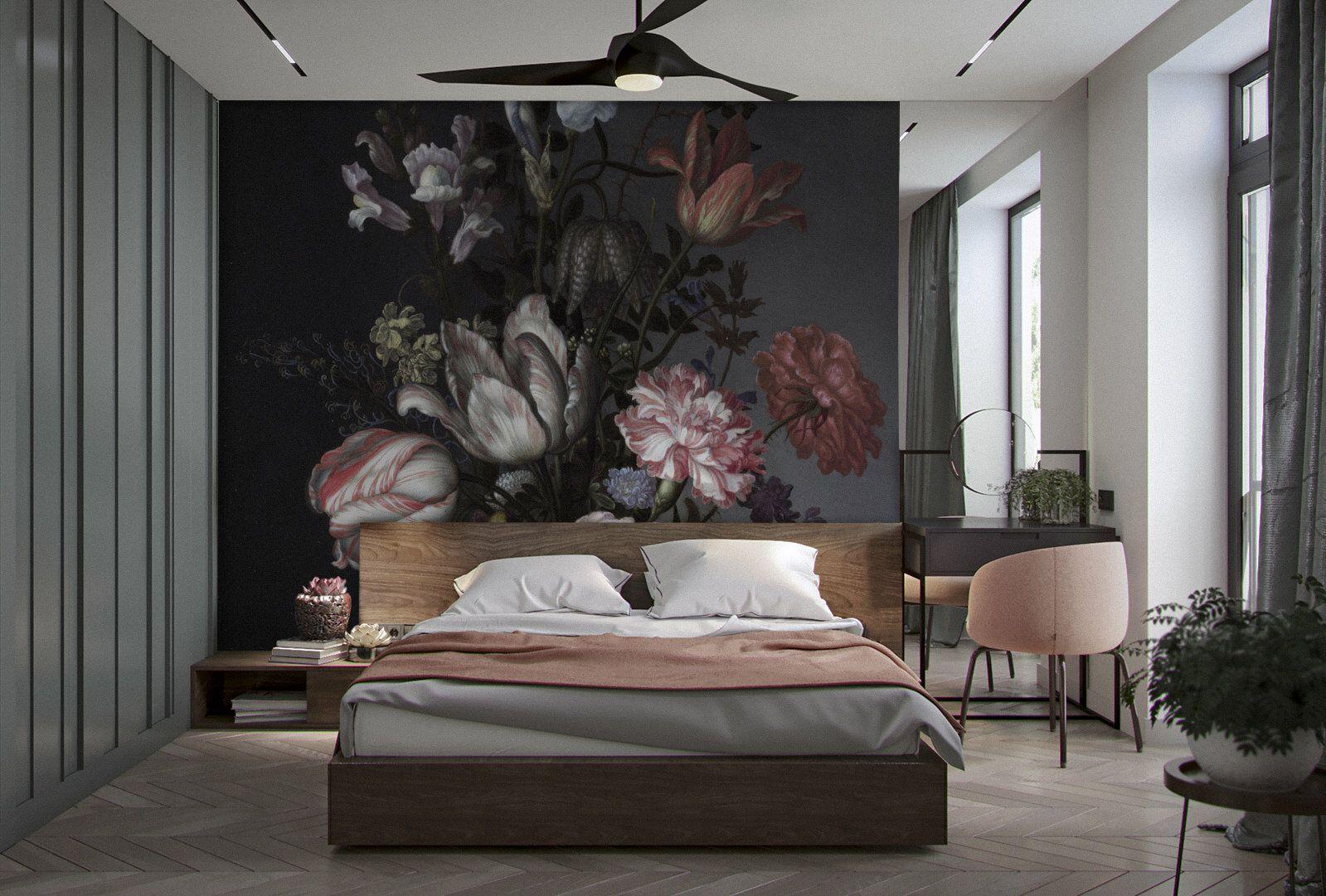 Dark Vintage Floral removable wallpaper dark wall