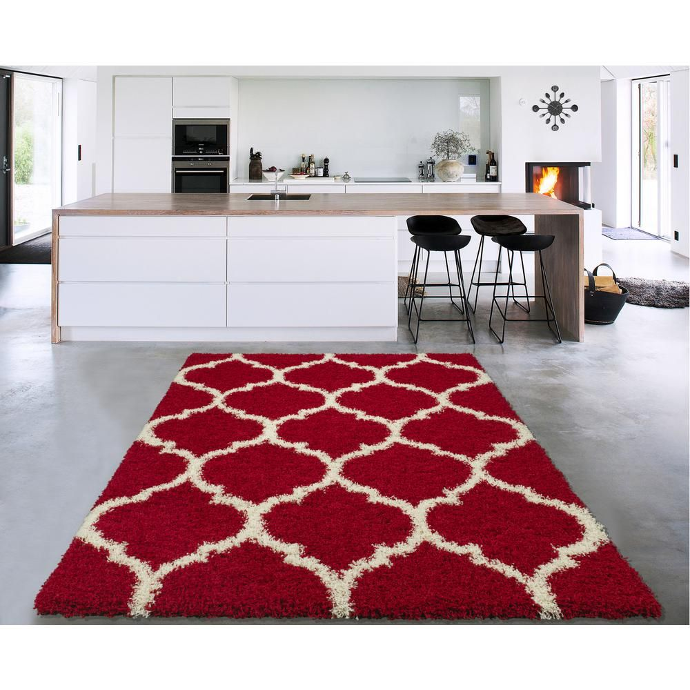 Sweet Home Stores Cozy Shag Collection Red Cream Moroccan Trellis