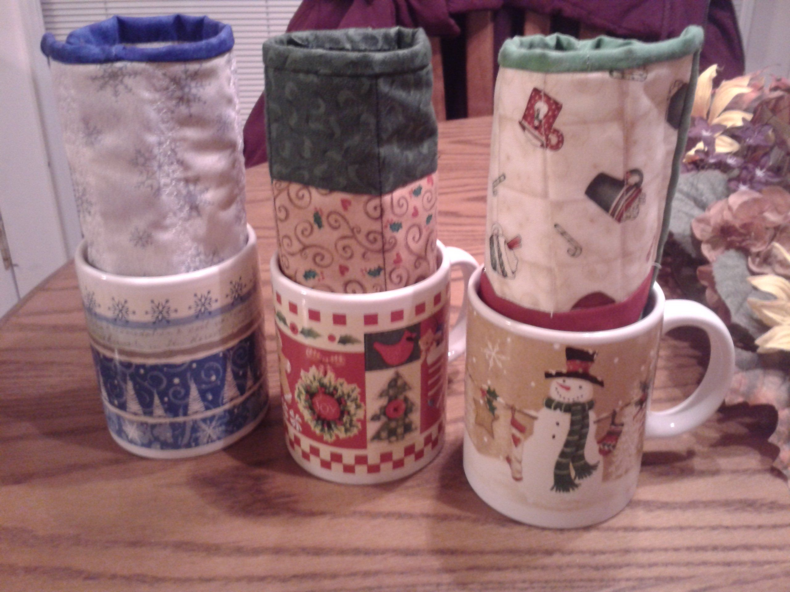 Mug Rugs with a cute mug for present, maybe filled with candy.