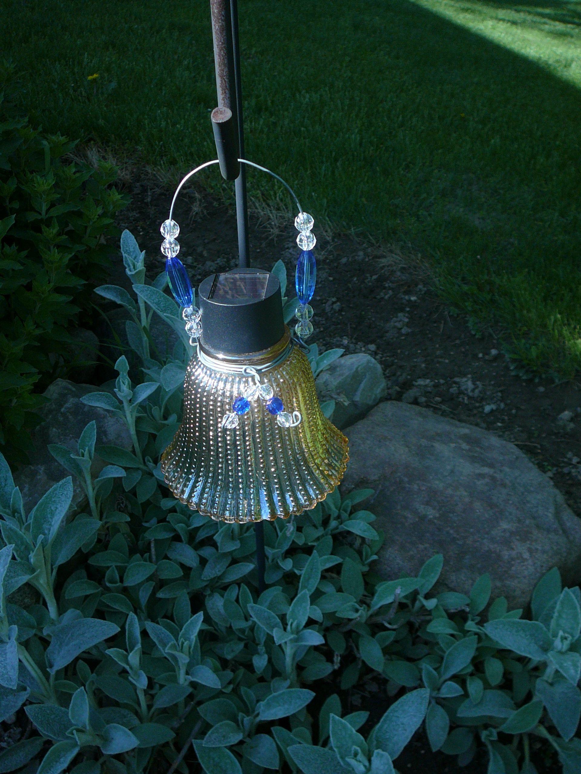 Mini Solar Lantern from old Light Shades. . . . Garden