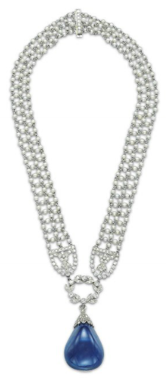 Belle Epoque, Edwardian, 1910, Downton, Gatsby, jewelry, sapphire drop, pear, seed pearl mesh, necklace