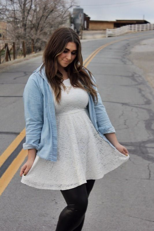 white lace dress outfit with leather leggings and denim button up shirt