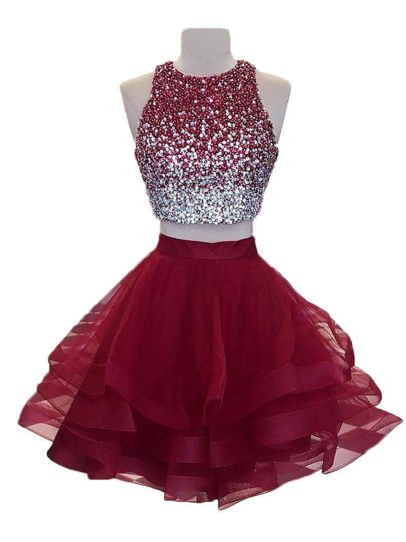 ffcb80f19bb A-line Beaded Top Burgundy Organza 2 Piece Homecoming Dresses ...