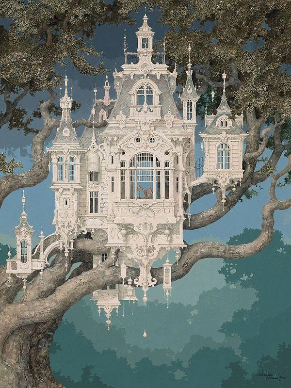 Daniel Merriam's Watercolors of Extravagant Whimsical Worlds