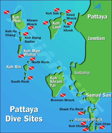 Jomtien Thailande Carte.Map Of Pattaya Diving Sites Thailand Maps Jomtien Dive