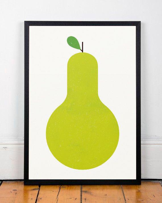 Küche, Poster Küche, Pear Print, Grüne Kunst Grafik, Moderne Graphik, Mitte  Jahrhundert Moderne, Minimalistische, Geometrische Poster, Kindergarten  Drucken