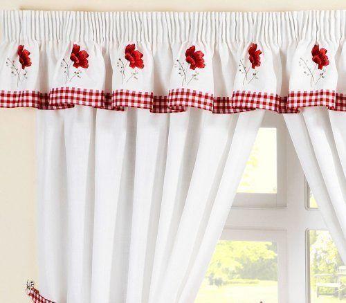 Cenefa de guing n con amapolas rojas bordadas a juego con - Ver cortinas para cocina ...