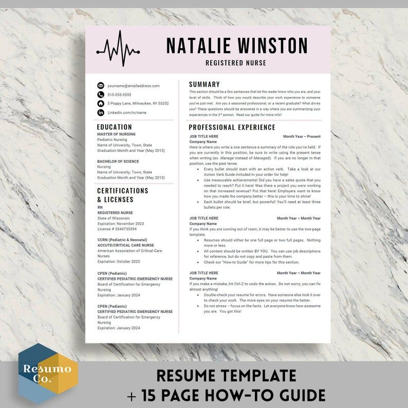 Nurse Resume Template for Word & Pages CV Template Modern