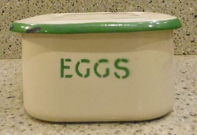 Vintage-Enamelware-Egg-Dish-Egg-Container-Cream-amp-Green-Colors-Very-Rare