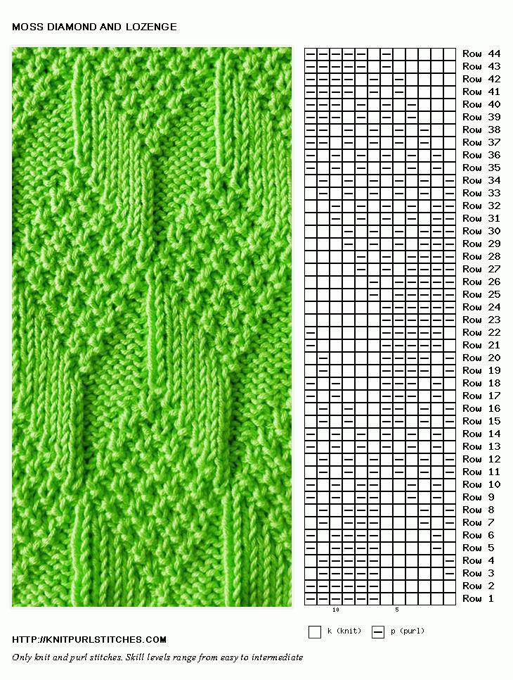 Moss Diamond And Lozenge Knit Stitch Pattern Knit Purl