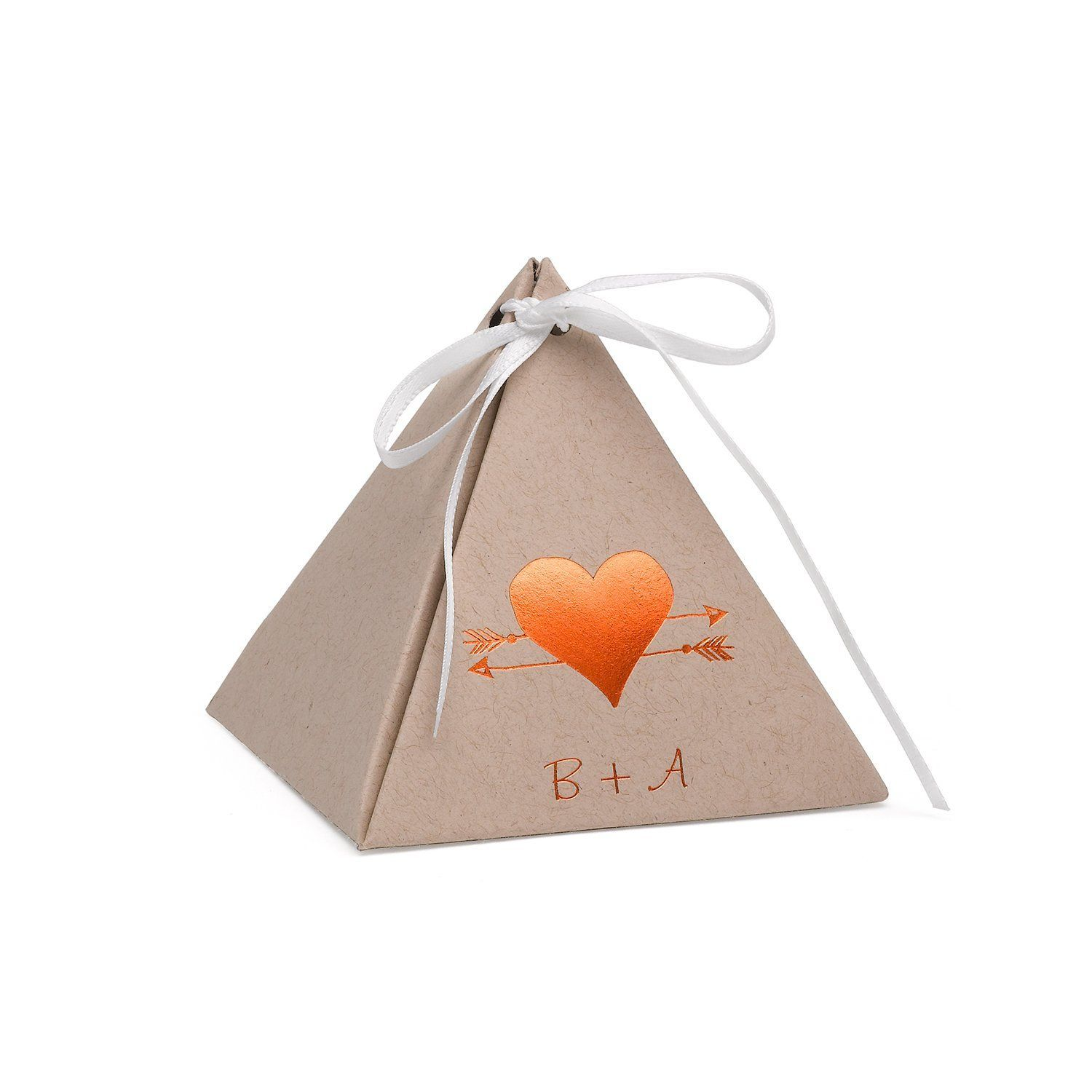 Personalized Kraft Paper Pyramid Favor Box | Kraft paper and Products