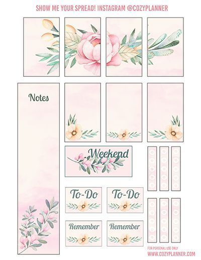 Free Printable Pretty Pink Floral Planner Stickers from