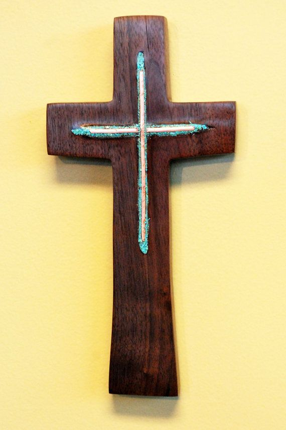 Walnut Wall Cross with Turquoise & Copper Inlay by BlackFacedSheep ...
