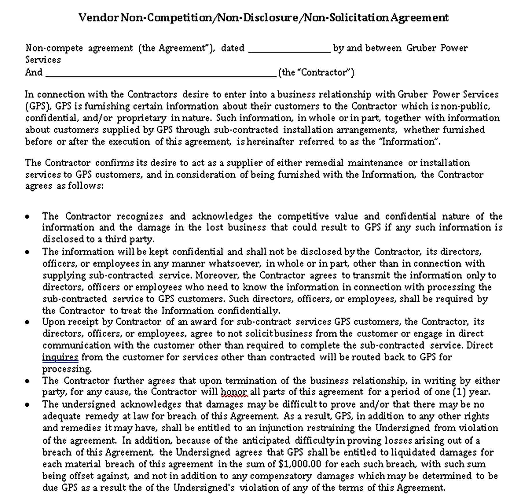 Restaurant Non Compete Agreement Template Sample Competing Templates Business Template