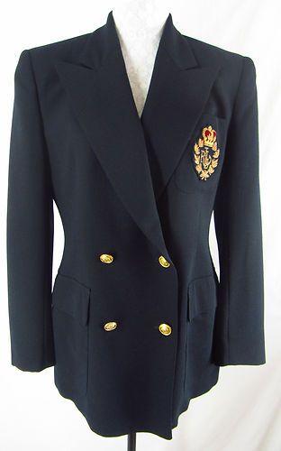 Seek Thermal Camera >> RALPH LAUREN Womens 8 Navy Blue Wool Crown Crest Logo Suit Jacket Blazer Preppy | Blazer, Best ...