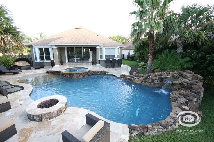 backyard swimming pool with beach entry and fire pit | pool & spa