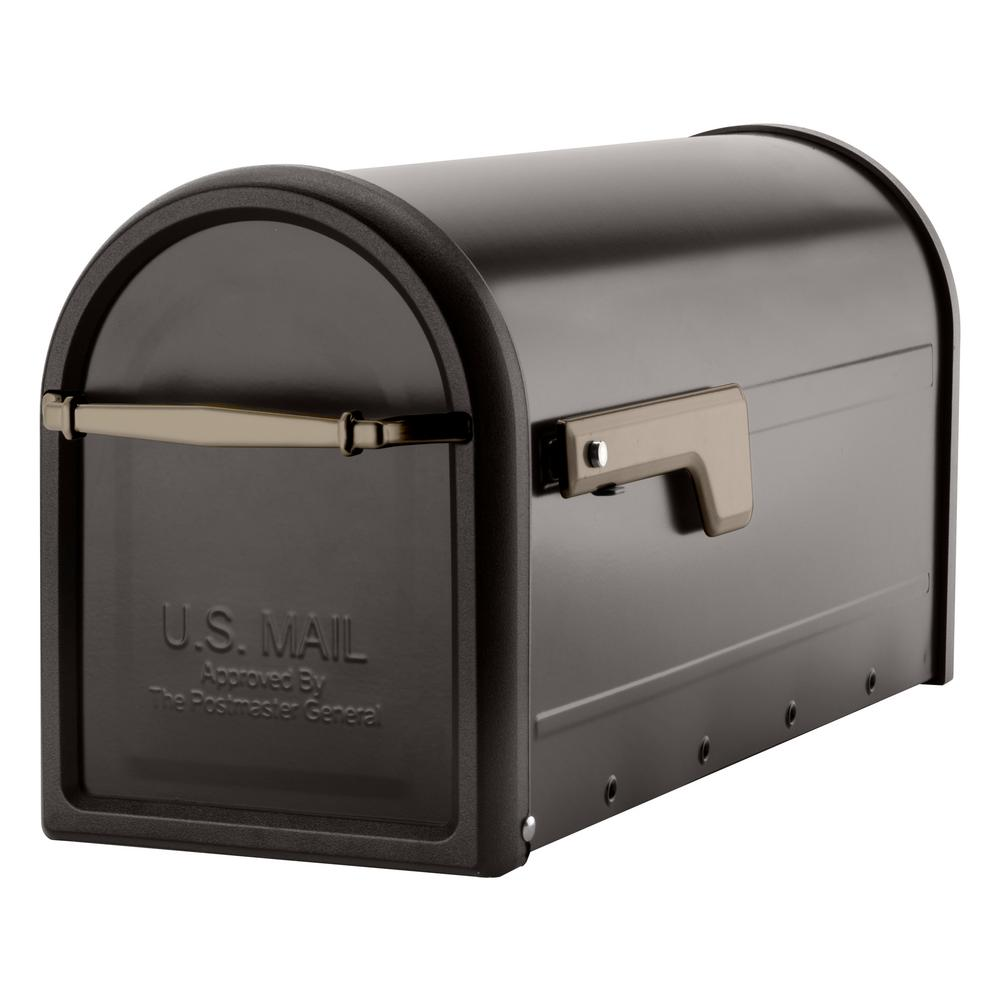 Architectural Mailboxes Chadwick Post Mount Mailbox Rubbed Bronze With Champagne Gold Flag 8950rz The Home Mounted Mailbox Architectural Mailboxes Post Mount