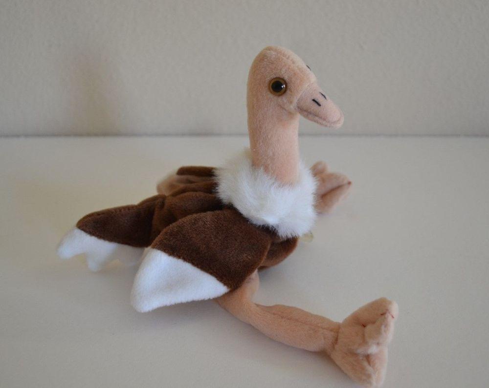 600917fb99e Ty Beanie Baby- Stretch- Plush Stuffed Animal Ostrich 1997 P.V.C. Pellets   Ty