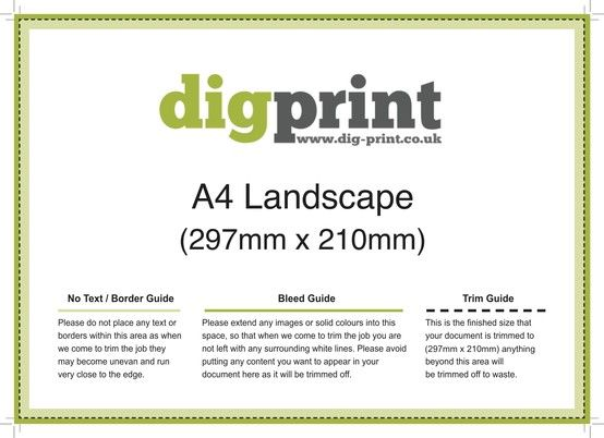 DigPrint A4 Landscape Flyers 297mm x 210mm Download Templates from - pull tab flyer template
