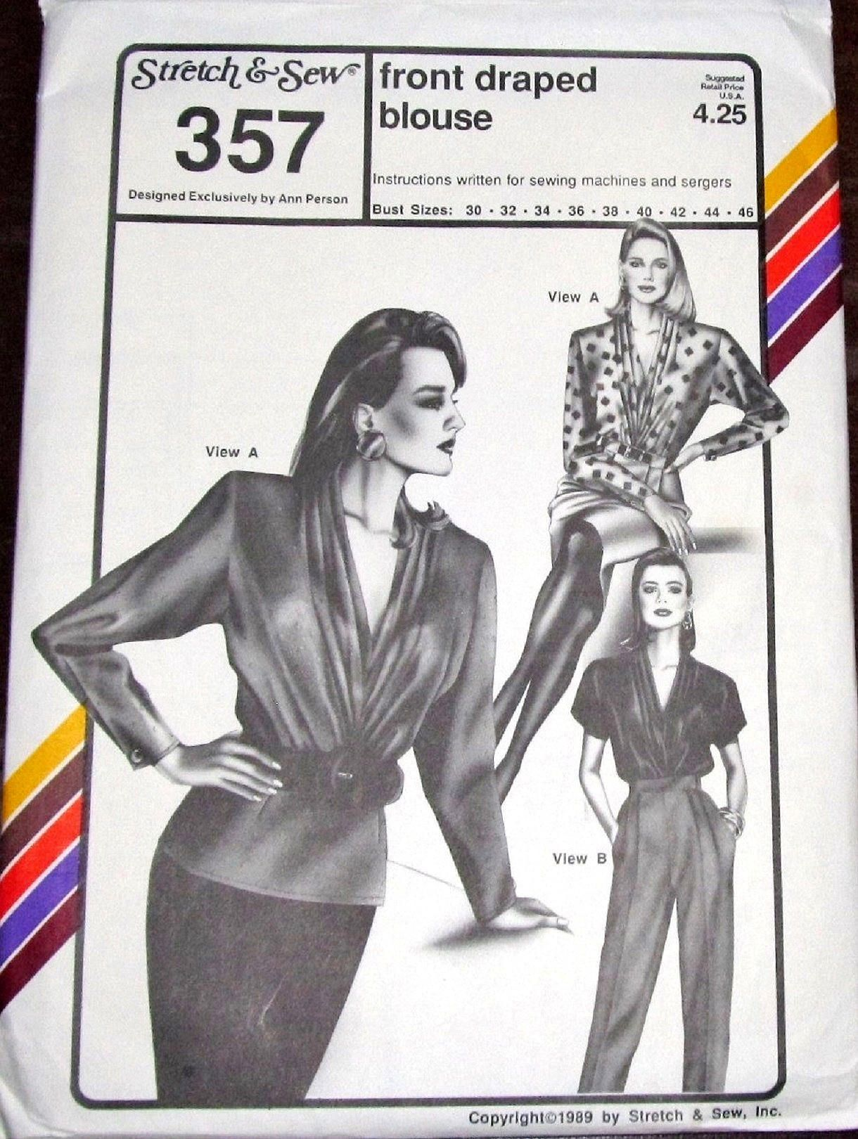 Vintage 1980s Ann Person Stretch & Sew Sewing Pattern 357 Draped V ...
