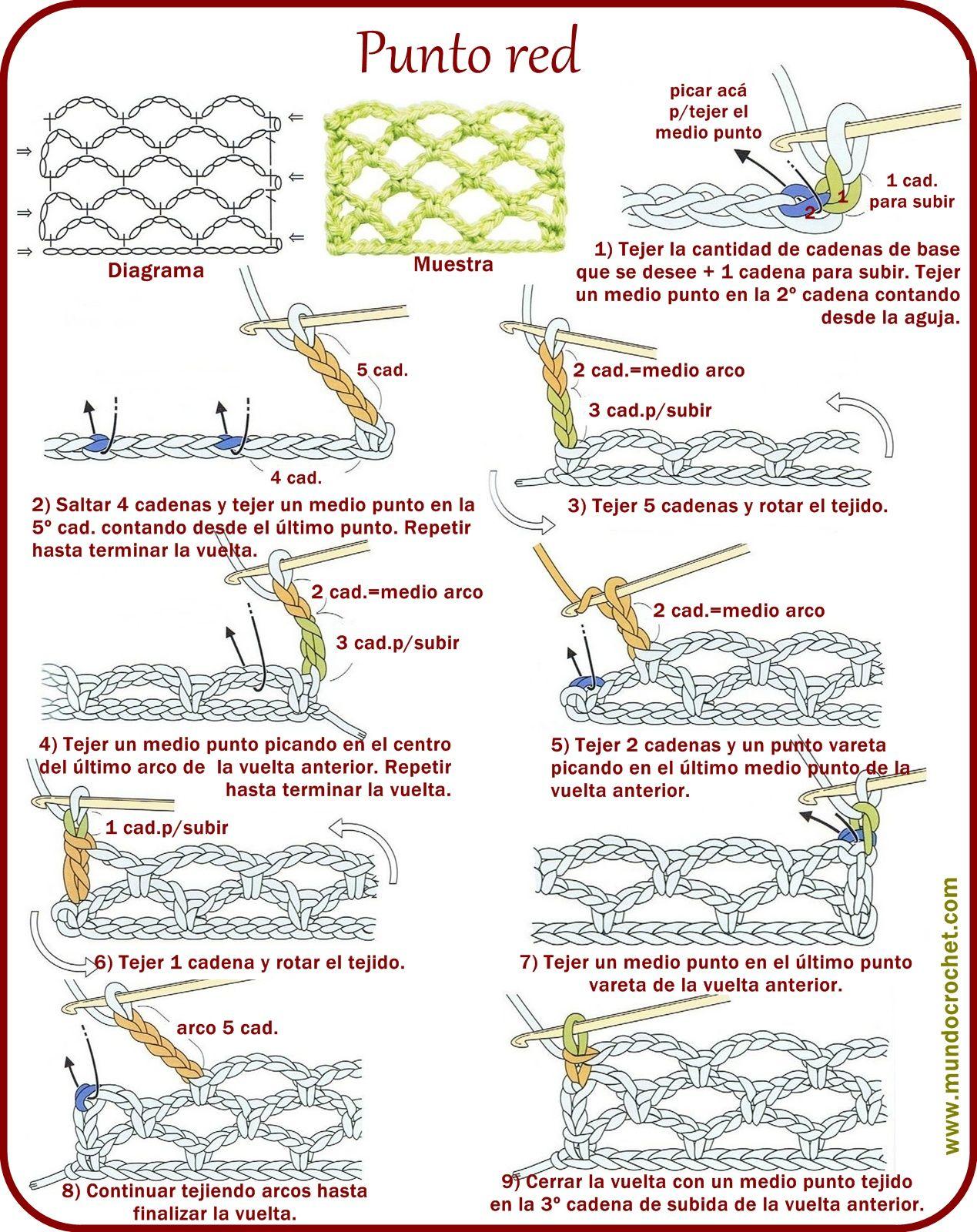 Punto red - Crochet stitch - вязание крючком пунктов | tejido ...