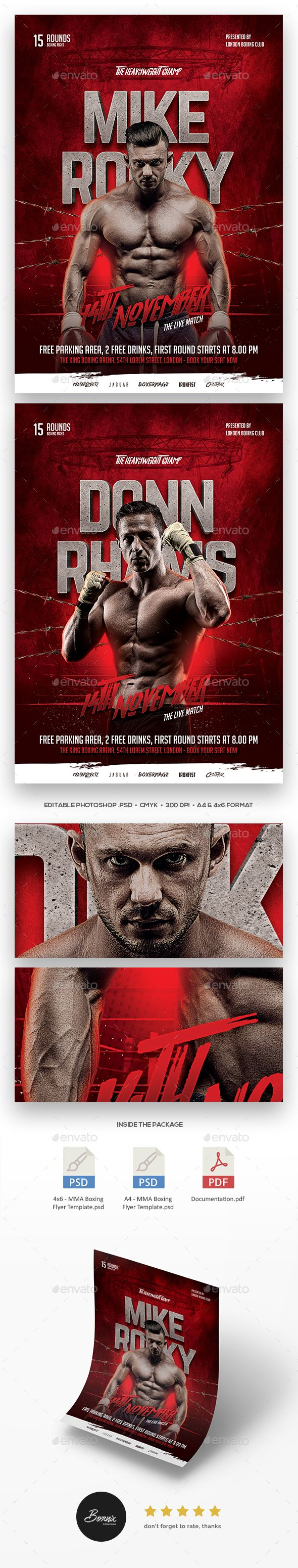 Mma Boxing Flyer Template C A Premium Photoshop Flyer Template