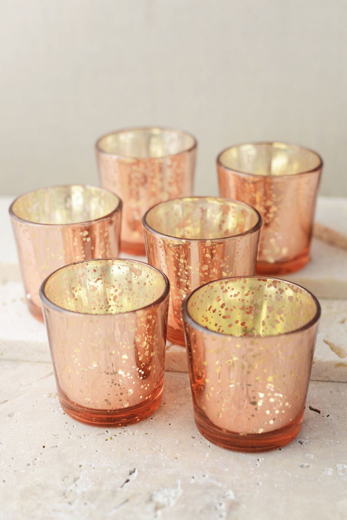 12 Rose Gold Mercury Glass Candle Holders Votive Holder
