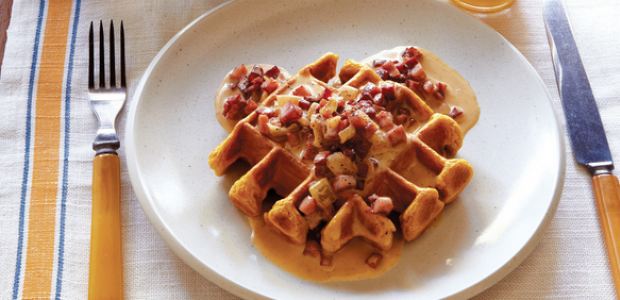Bourbon, Stout and Sweet Potato Waffles with Ham and Maple Sauce
