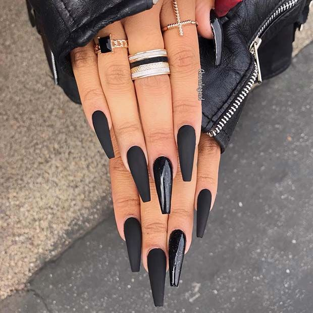 21 Bold and Edgy Black Coffin Nails