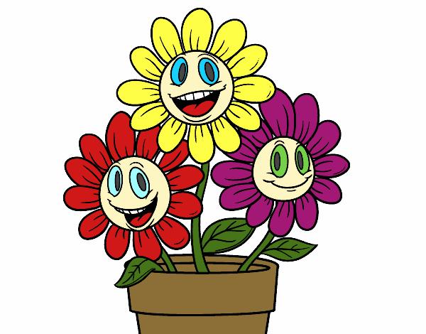 Desenho De Vaso De Flores Pintado E Colorido Por Airam O