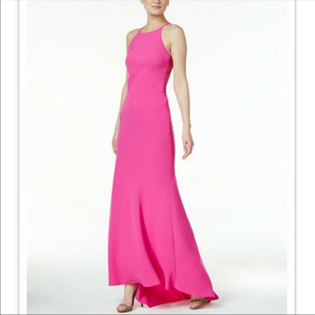 Fuchsia/pink halter long dress by Calvin Klein NWT | Products ...