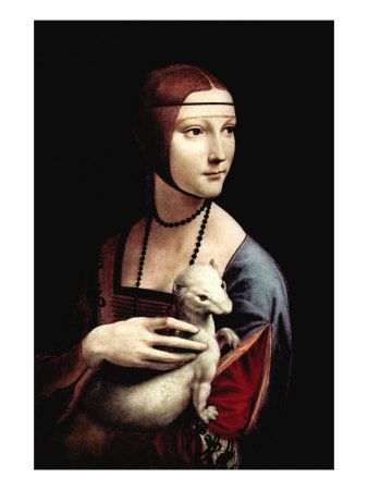 Portrait of a Lady with An Ermine by Leonardo da Vinci. Premium poster from Art.com.