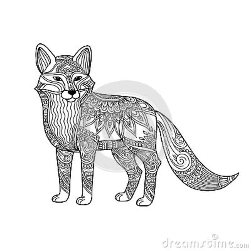 Illustration about Stylized fox in doodles. Pattern style ...
